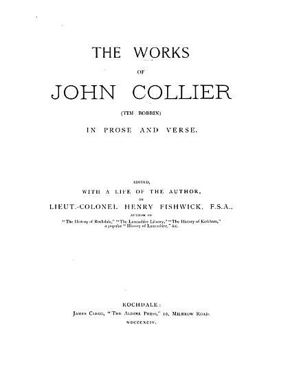 The Works of John Collier  Tim Bobbin  PDF