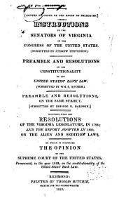 Instructions to the Senators of Virginia in the Congress of the United States
