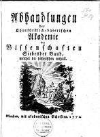 Abhandlungen der Churf  rstlich Baierischen Akademie der Wissenschaften PDF
