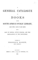 A General Catalogue of Books in the South African Public Library  Cape Town  Cape of Good Hope PDF
