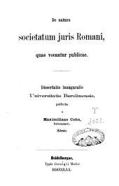 De natura societatum juris romani quae vocantur publicae