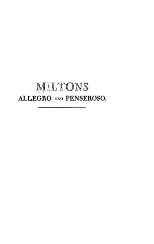 Milton s Allegro und Penseroso