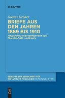 Briefe Aus Den Jahren 1869 Bis 1910 PDF