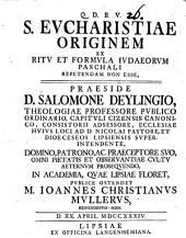 S. Eucharistiae originem: ex ritu et formula Iudaeorum Paschali repetendam non esse