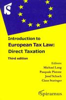 Introduction to European Tax Law PDF