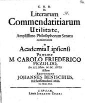 De Literarum Commendatitiarum Utilitate