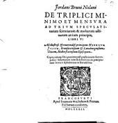 De triplici minimo et mensura ad trium speculativarum scientiarum et multarum activarum artium prinicpia