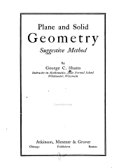 Plane and Solid Geometry: Suggestive Method