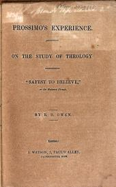 Prossimo's Experience: On the Study of Theology : Safest to believe, or the Balance Bruck