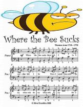 Where the Bee Sucks - Easy Piano Sheet Music Junior Edition
