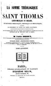 La Somme théologique de Saint Thomas: Volume15