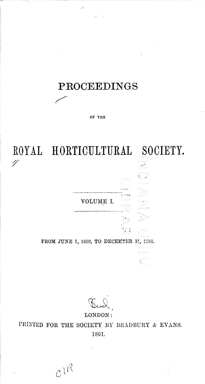 Proceedings of the Horticultural Society of London