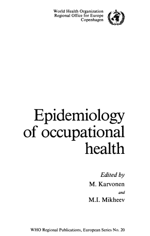 Epidemiology of Occupational Health PDF