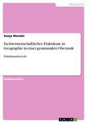 Fachwissenschaftliches Praktikum in Geographie in einer gymnasialen Oberstufe: Praktikumsbericht