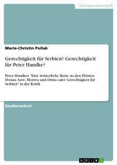 """Gerechtigkeit für Serbien? Gerechtigkeit für Peter Handke?: Peter Handkes """"Eine winterliche Reise zu den Flüssen Donau, Save, Morava und Drina oder Gerechtigkeit für Serbien"""" in der Kritik"""