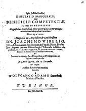 Disputatio inauguralis de beneficio competentiae