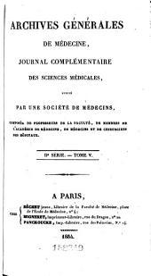 Archives générales de médecine: Volume2;Volume5