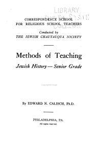 Methods of Teaching Jewish History PDF