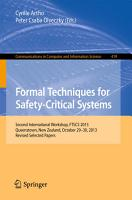 Formal Techniques for Safety Critical Systems PDF
