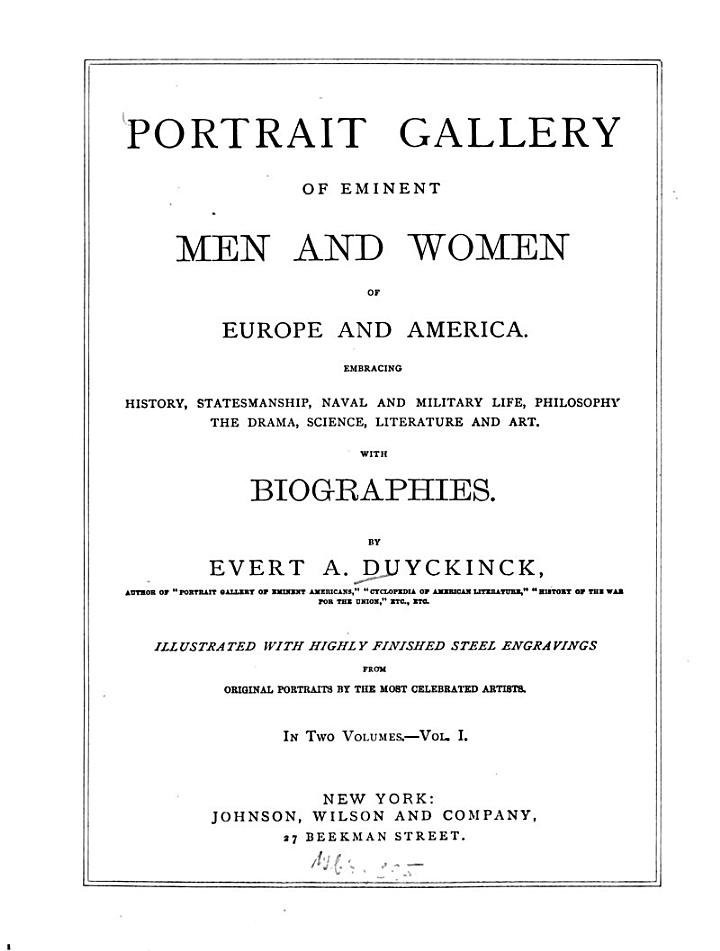 Portrait gallery of eminent men and women of Europe and America