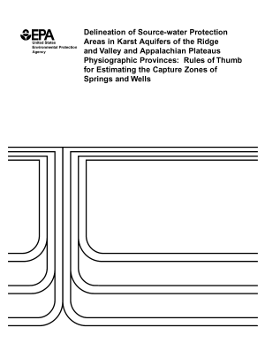 Delineation of sourcewater protection areas in karst aquifers of the Ridge and Valley and Appalachian Plateaus physiographic provinces rules of thumb for estimating the capture zones of springs and wells  PDF