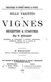Mille variétés de vignes: description et synonymies