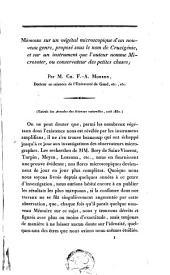 Mémoire sur un végétal microscopique d'un nouveau genre, proposé sous le nom de Crucigénie, et sur un instrument que l'auteur nomme Microsoter, ou conservateur des petites choses