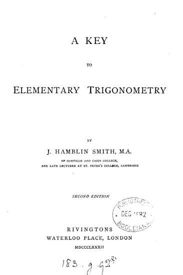 A Key to Elementary Trigonometry PDF