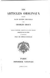 Les articles originaux publiés dans divers recueils