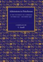 Admissions to Peterhouse PDF