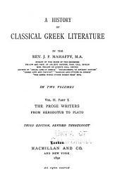A History of Classical Greek Literature: Volume 2, Issue 1