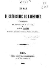 Essai sur la crédibilité de l'histoire évangélique: en réponse au Dr. Strauss