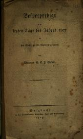 Vesperpredigt am letzten Tage des Jahres 1807