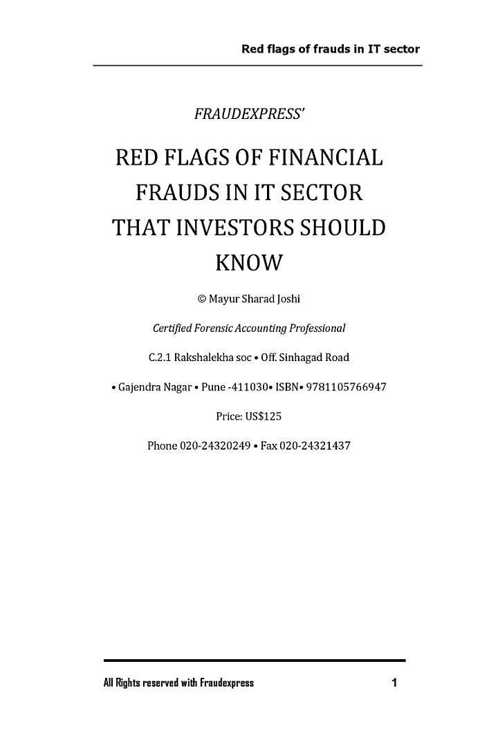 Red Flags of IT Sector Frauds