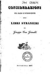 Considerazioni sul dazio d'introduzione dei libri stranieri di Giuseppe Ceva Grimaldi