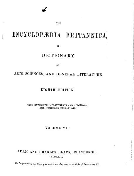 Download The Encyclopaedia Britannica  Or Dictionary of Arts  Sciences  and General Literature Book
