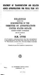 Department of Transportation and Related Agencies Appropriations for Fiscal Year, 1971