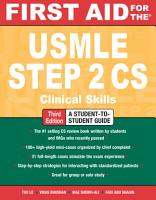 First Aid for the USMLE Step 2 CS  Third Edition PDF