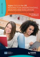 Higher English  Reading for Understanding  Analysis and Evaluation   Answers and Marking Schemes PDF