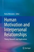 Human Motivation and Interpersonal Relationships PDF