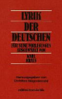 Lyrik der Deutschen PDF