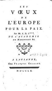 Les voeux de l'Europe pour la paix