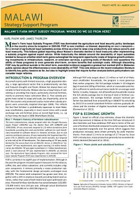 Malawi s farm input subsidy program  Where do we go from here