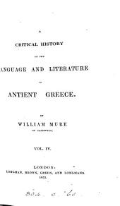 A Critical History of the Language and Literature of Antient Greece Volume 3