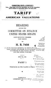 Tariff ... Hearing ... on H.R. 7456 ...