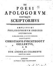 De poesi apologorum, eorumque scriptoribus