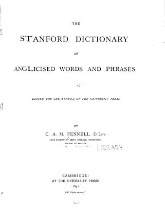 The Stanford Dictionary of Anglicised Words and Phrases PDF