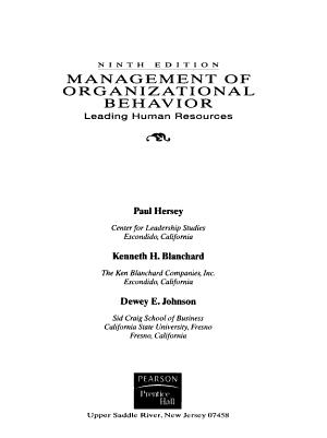 Management of Organizational Behavior PDF