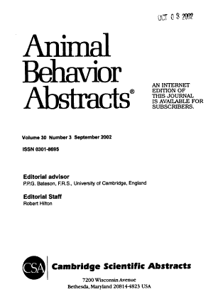 Animal Behaviour Abstracts