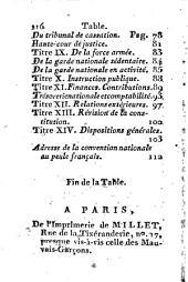 Constitution de la République française, du 5 Fructidor, An III, acceptée par le peuple